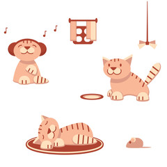 Funny cats in flat style