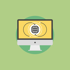 Global communication flat icon illustration