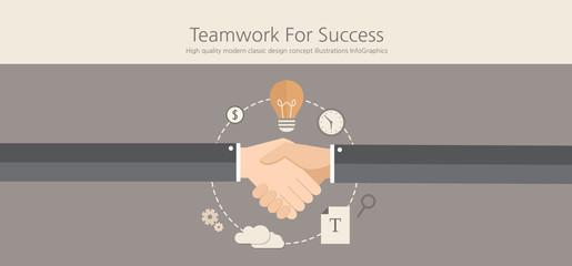 Modern and classic design online success teamwork concept.