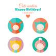 Vector set of holiday carnival childish avatars, flat icons