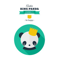 Cute panda icon, avatar in flat style