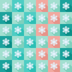 Seamless pattern with snowflakes icons in flat design