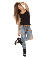 beautiful brown-haired woman in shirt and jeans