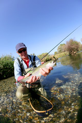 Fly fisherman catching a fario trout in river