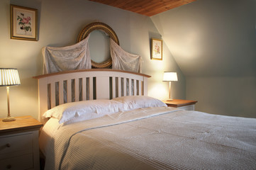 Interior of a country cottage bedroom