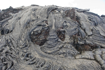 Lava rock formation in Hawaii. Pahoehoe flows over a'a.