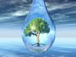 green tree in a drop
