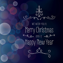 Merry Christmas card with bokeh light background and ornaments