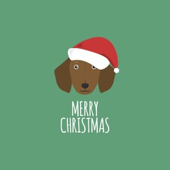 Merry Christmas Card, Dachshund