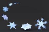 Snowflake flurry on black. poster