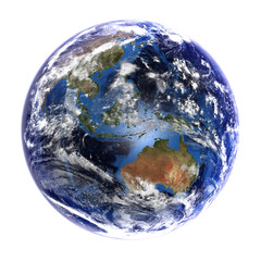 The Earth showing Australasia, isolated on white.
