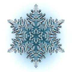Single perfect snowflake isolated on white.