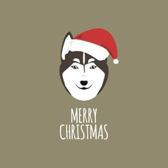 Merry Christmas Card, Siberian Husky