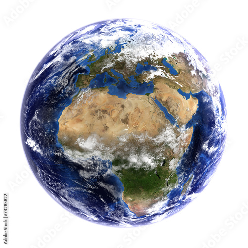 The Earth showing Europe & Africa, isolated on white.