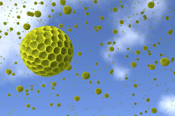 Pollen grains against the blue sky.