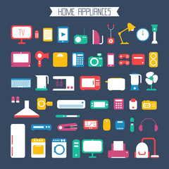 Set of electronic devices and home appliances colorful icons in
