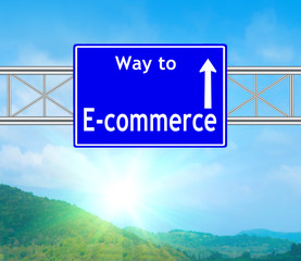 E-commerce Blue Road Sign