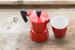 coffee machine, red pot