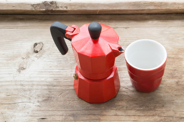 coffee machine, red pot