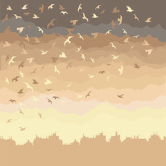Background image with black and white birds