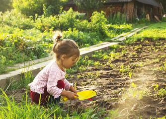 Cute little girl having fun at countryside