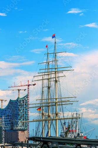 canvas print picture Hamburger Hafen mit Elbphilharmonie