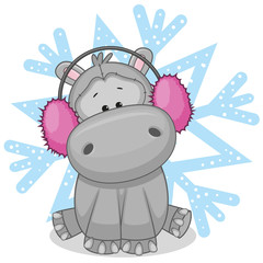 Hippo in a fur headphones