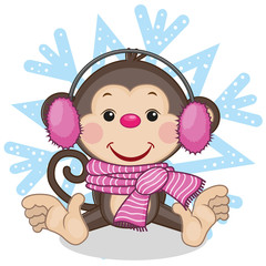 Monkey in a fur headphones