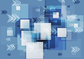 Blue corporate geometry background with squares and arrows