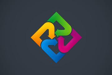 circular arrow geometry abstract color logo