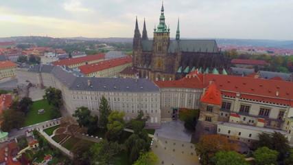 Castle of Prague, Czech Republic architecture, aerial shot close