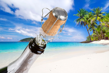 Bottle of champagne with splashes on the tropical beach
