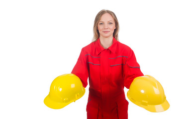 Woman in industrial concept isolated on white