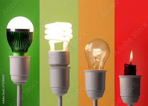 positioning of various lightings by energy savings and by colors - 73288616