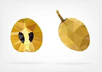 Low Poly Sapodilla fruit