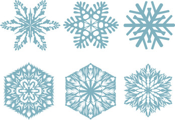 Set of snowflakes, white background. Vector illustration.