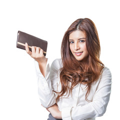 brunette yound woman purse wallet