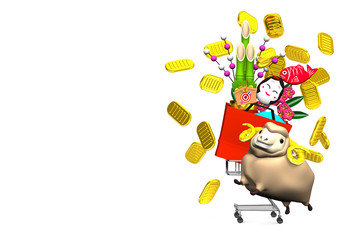 Sheep, New Year's Ornaments, Shopping Cart On White Text Space