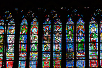 Stained glass windows inside the Notre Dame Cathedral. Paris