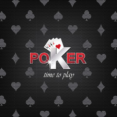 Poker vector illustration on a dark background with card symbol