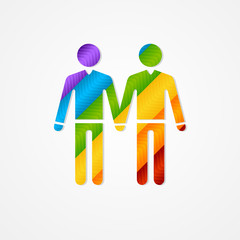 Sign of couple men. LGBT card
