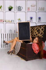 model with the black board