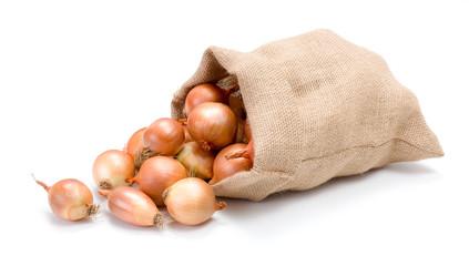 Yellow onions in burlap bag