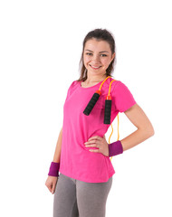 woman aerobics rope