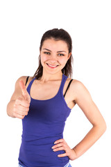 Sport woman thumbs up