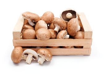 Cultivated brown champignons in wooden crate