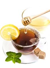 Honey tea with lemon and leaf mint