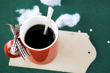 hot coffee on green background