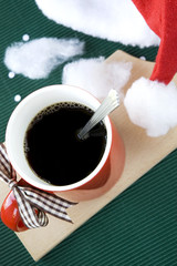 hot coffee with santa hat