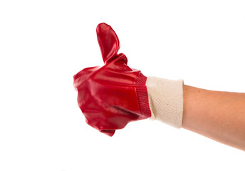 Thumbs up with a red glove.